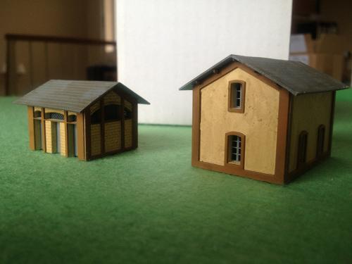 Edificios Sklas escala N terminados.