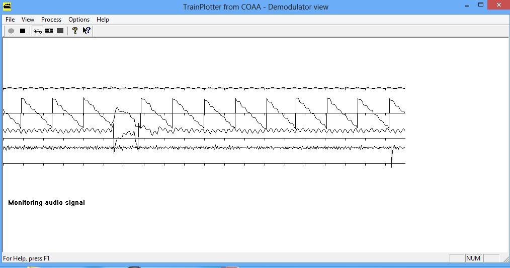 Aspecto de la señal de radio del sistema Tren-Tierra en TrainPlotter