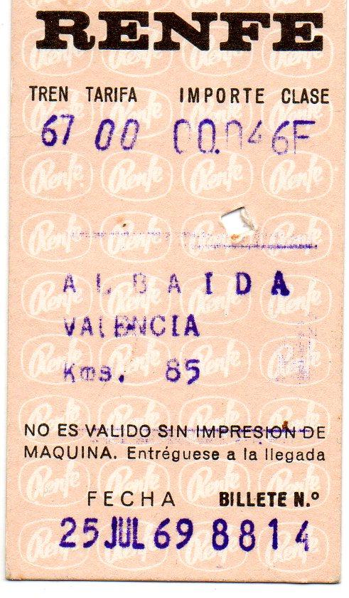 Billete de cartulina Hugin, Albaida -Valencia, en 1969. J. L. Llop.