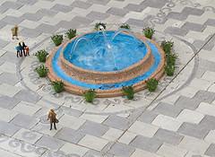 Fuente con agua en la maqueta de la Plaza de España de Sevilla