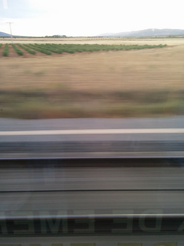 Vía tren AVE Madrid-Sevilla con LZB