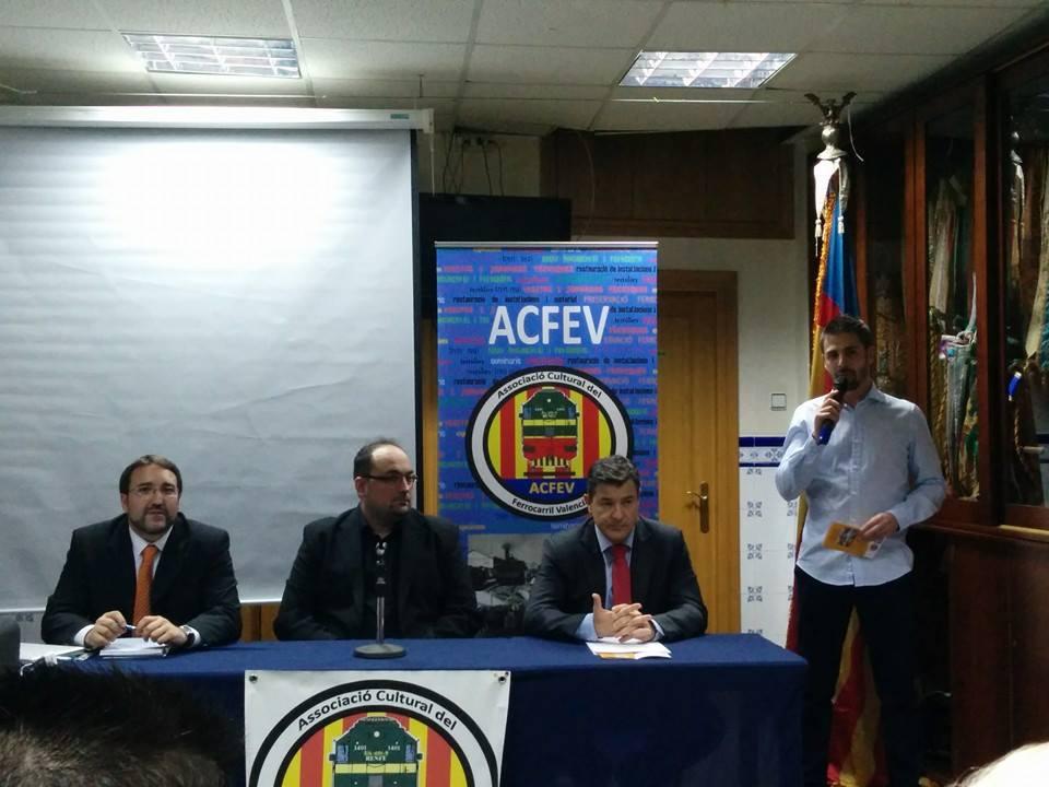 Inauguración de las Jornadas con ACFEV y Pablo Cotino, director-gerente de Ferrocarrils de la Generalitat Valenciana
