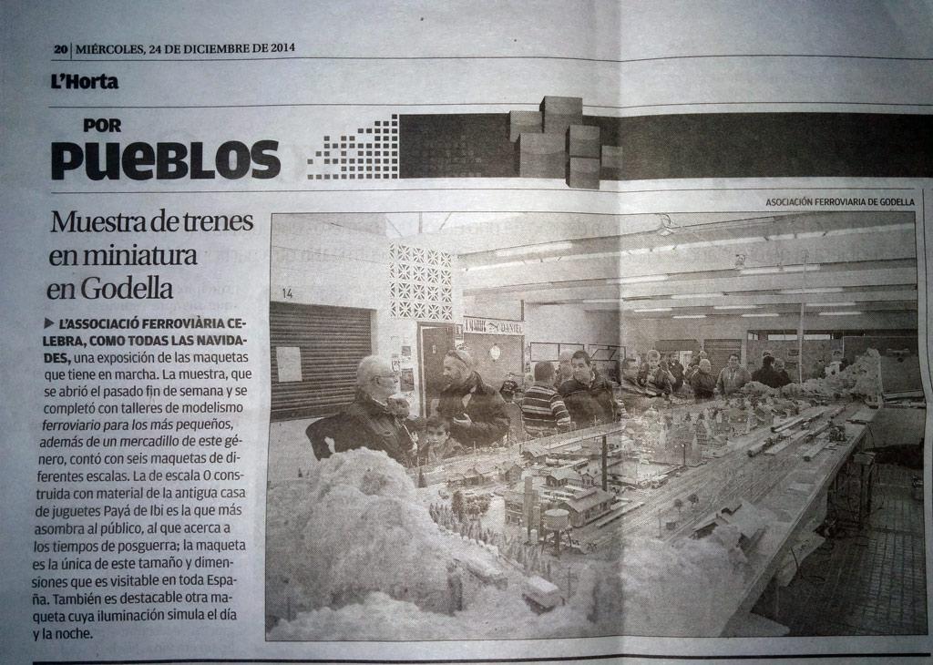 Artículo aparecido en Levante-EMV el día 24 de Diciebre de 2014 sobre la exhibición y mercadillo de Modelismo Ferroviario