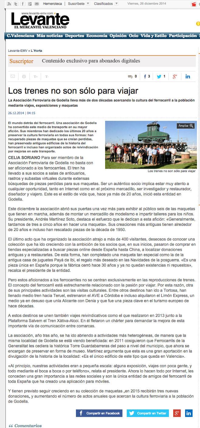 Artículo aparecido en Levante-EMV el día 26 de Diciebre de 2014 sobre l'Associació Ferroviària de Godella