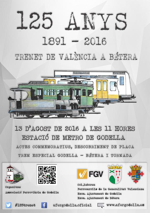 l'Associació Ferroviària de Godella conmemorará el 125 aniversario del trenet de València a Bétera